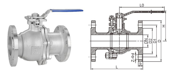 2pc Flanged Stainless Steel Ball Valve