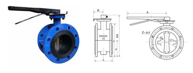 Handle Flange Type Soft Seal Butterfly Valve Soft Seal